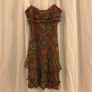 Diane Von Furstenberg 100% Silk Ruffle Midi Dress